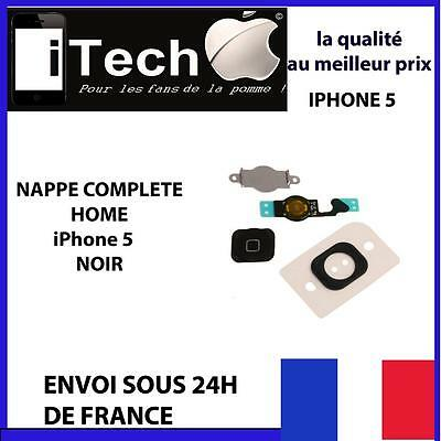 Bouton Home Noir Iphone 5 + Nappe + Membrane + Support Metal