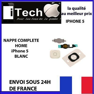 Bouton Home Blanc Iphone 5 + Nappe + Membrane + Support Metal