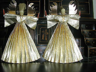 2 BEAUTIFUL TALL ANTIQUE ANGEL TREE TOPPERs   CHRISTMAS ORNAMENT GERMAN 1920'S
