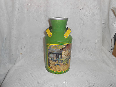 John Deere Stonewashed Milk Can Tin Tractor Barn Farm White Wooden Fence