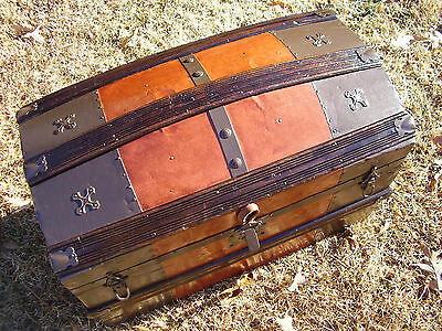 Antique Steamer Trunk, Dome Top. Fully Refinished, ca 1885