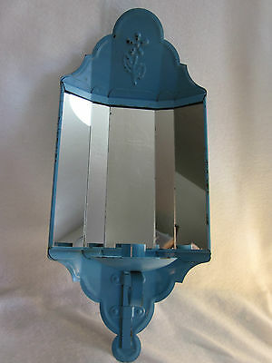 """Antique 18"""" Blue French Enamel? Panelled Mirror Candle Metal Wall Sconce Vintage"""
