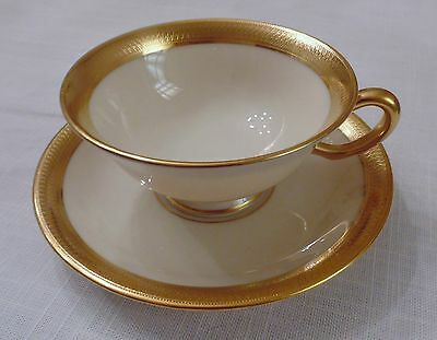 Lenox China LOWELL Footed Tea Cup & Saucer, Fine Ivory China & 24K Gold P67