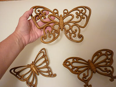 Vintage Set of 3 Wall Plaque -Ornate Butterfly Match Wicker Firniture Syroco Inc