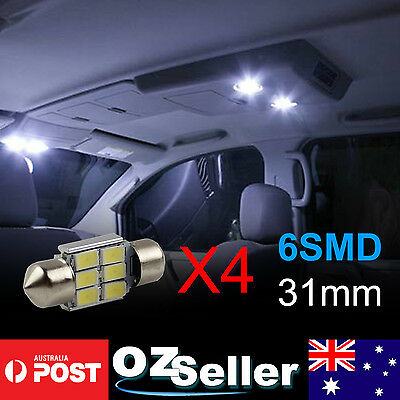 4pcs Canbus 31mm 5630SMD 6LED Interior Map Dome Festoon No.Plate Light White OZ