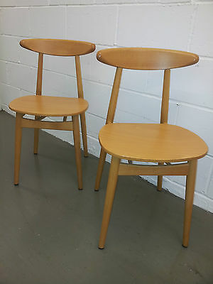Danish Style Mid Century Beech CH33 Style Chairs
