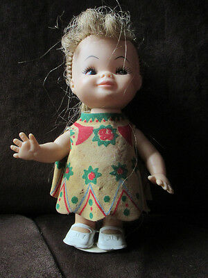 Vintage little Horsman small wind-up doll 1960's odd little girl pouty 1967