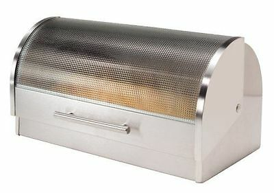 Stainless Steel Bread Box Roll Top with Tempered Glass Lid Kitchen Loaf Storage