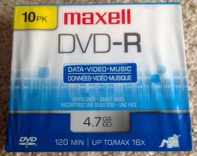 Maxell DVD-R 4.7 GB 10 Pack- DATA/MUSIC/VIDEO