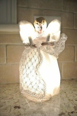 """Beautiful Christmas Angel Christmas Tree Topper 9"""" with Lights New White Dress"""