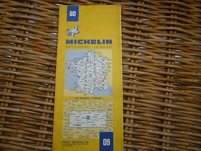 Carte routière MICHELIN 1975 Le Mans - Paris N°60