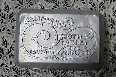 Early Avon California Perfume Co Aluminum Lid Milk Glass Tooth Tablet Dental