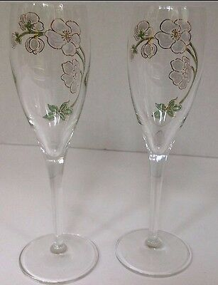 Mint Perrier Jouet Belle Epoch Champagne Hand Painted Flutes New