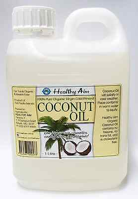 Certified Organic COCONUT OIL 1L Litre ~ 100% Pure Extra Virgin ~ Cold Pressed