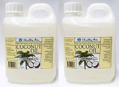 2 x COCONUT OIL 1L Litre ~ Certified Organic ~ 100% Pure Virgin ~ Cold Pressed