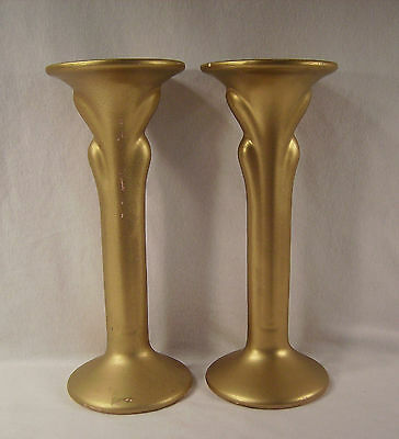 "Pair Haeger Pottery Art Deco10 ½"" Candle Candlestick Holders Gold 3282 1985 Vtg"