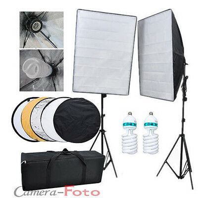 Photo 1250W Soft Box Continuous Lighting Softbox Light Stand Kit Reflector Local