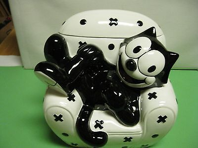 Clay Art Felix the Cat in Chair Black and White Cookie Jar China