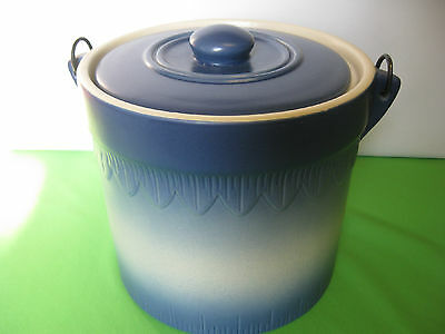 Art Pottery Blue Grey Bucket Cookie or Bisquit Jar with Handle