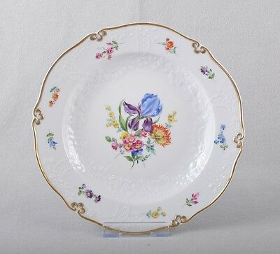 Meissen Flowers Bunch & Gold Border Plate/Wall Plate New Marseilles Relief Decor