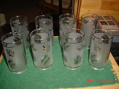 Set of 8 silver leaf libbey frosted glasses