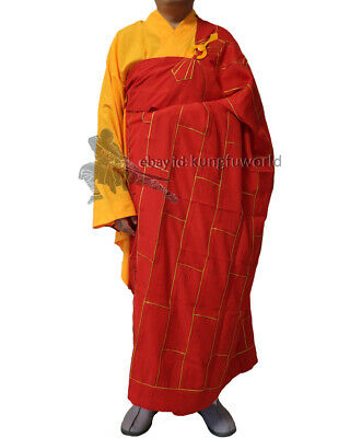 Top Quality Buddhist Monk Dress 25 Panels Red Kesa Haiqing Robe Meditating Suit
