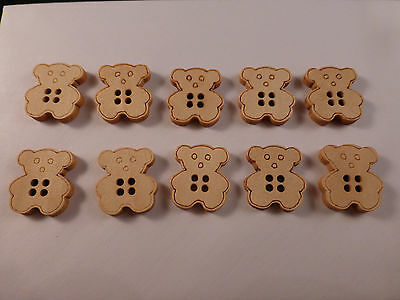 10 x Adorable Wooden 2cm Bear Buttons ideal for Sewing, Crochet, Knitting Crafts