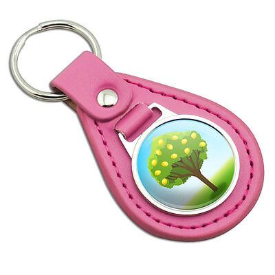 Lovely Lemon Tree Pink Leather Metal Keychain Key Ring