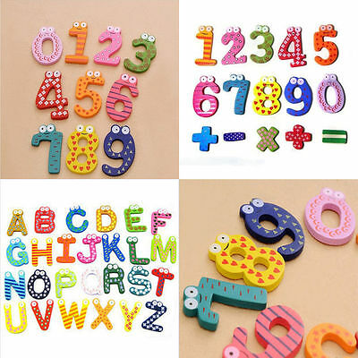 Wooden Fridge Magnet Early Education Kids Baby Number/Alphabet Developmental Toy