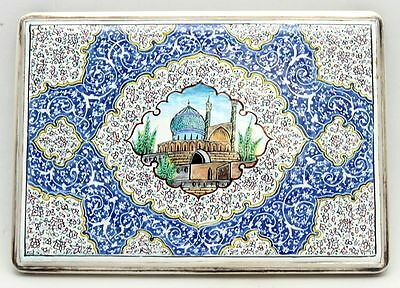 ANTIQUE PERSIAN ISLAMIC SILVER & HAND PAINTED MULTI-COLOR ENAMEL CIGARETTE CASE