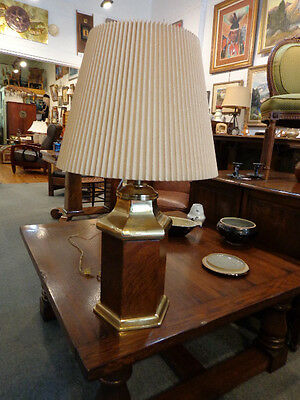 Vintage Frederick Cooper Brass And Burl Wood Table Lamp Pagoda Style