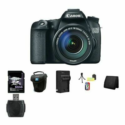 Canon EOS 70D DSLR Camera w/18-135mm Lens 64GB Package
