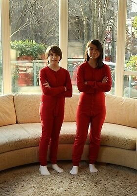 Child size red long johns with a square back hatch. Onesies. Organic Cotton