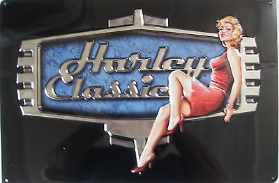 Ande Rooney Harley Davidson H-D Retro Babe Embossed Tin Sign