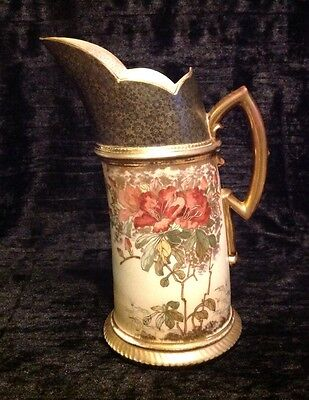 RH ROBERT HANKE AUSTRIA HAND PAINTED CURVED FLORAL PITCHER