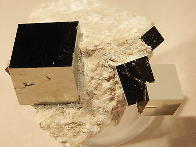 FOUR Perfect Little Entwined Pyrite Crystal Cubes in Natural Matrix! Spain 34.9g