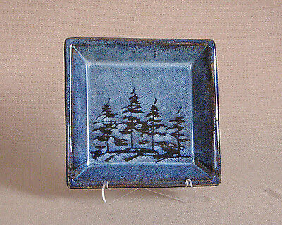 potterybydave - Small Serving Tray - Square - Blue w/ Pine Tree design