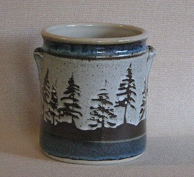 potterybydave  -Utensil Holder -  Tan with Brown Pine Trees - and Ducks