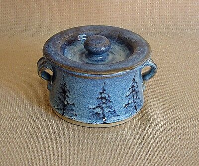 potterybydave - Small Individual Casserole - Blue with Pine Trees design
