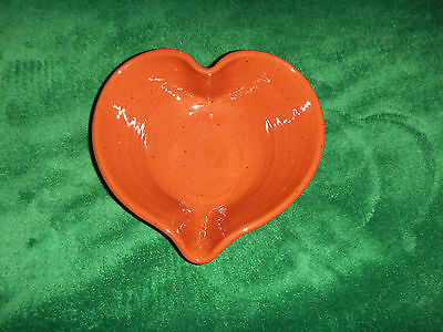Red Clay Bowl Heart Shaped signed work