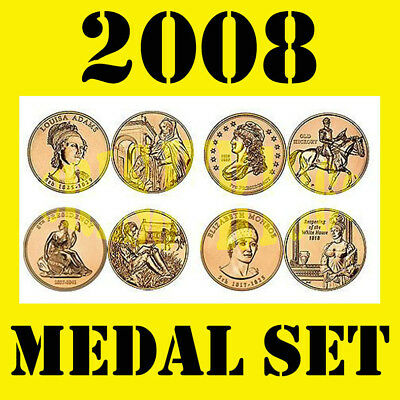 2008 Us Mint First Spouse Lady Series 4 Bronze Medal Set Gold Coin Apperance