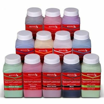 POWDER PAINT X 4  TEMPERA 500gr TUBS  (GREEN, RED, YELLOW, BLACK) - REEVES