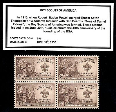 1950 - BOY SCOUTS OF AMERICA (BSA) -  Block of Four Vintage U.S. Postage Stamps