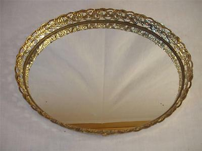 Vintage Oval Filigree Mirrored Vanity Tray / Dresser Tray Footed