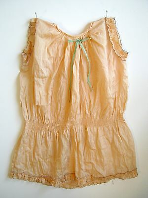 1920s peach silk blouse top shirt for study or doll clothes vintage flaws