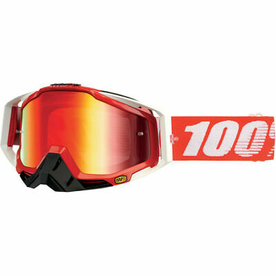 Gafas Moto 100% Racecraft Goggles Fire Red With Mirror Red Lens