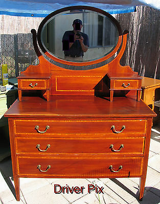 1800s Mahogany Antique Dresser w/Detachable Swivel Oval Mirror