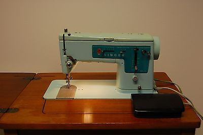Vintage Singer 347 Sewing Machine with Wooden Cabinet power cord/ foot pedal