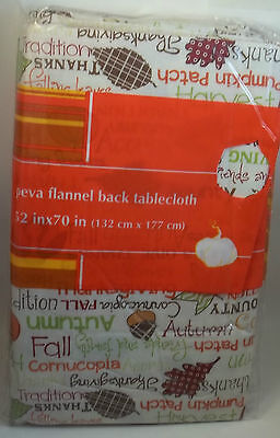 Holiday Thanksgiving Flannel Back Tablecloth Fall Autumn Pumpkin 52x90