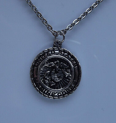 US MARINE CORPS Pendant Necklace American Military Veteran War Tactical Badge